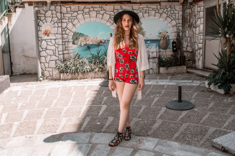 Combishort H&M - Kimono OVS - Chapeau et sandales Pimkie | happinesscoco.com