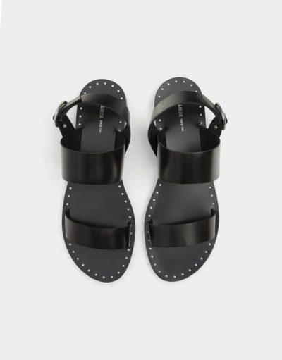 Pull and Bear Sandale noire lanières imitation cuir