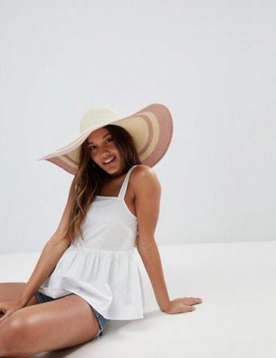 ASOS – Chapeau mou en paille avec tour de tête ajustable et bordure métallisée
