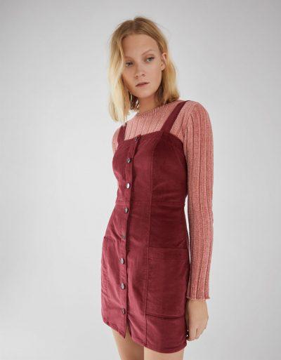 Bershka Salopette type jupe en velours côtelé