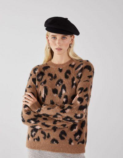 Bershka Pull imprimé léopard