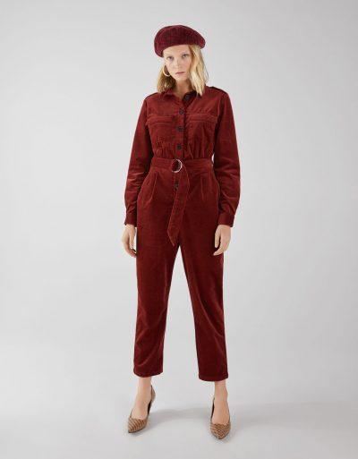 Bershka Combi-pantalon en velours côtelé avec ceinture