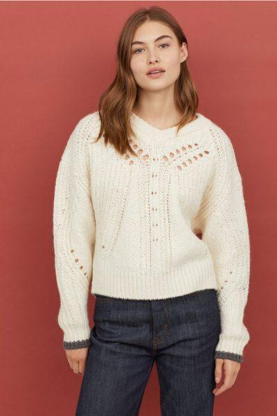 h&m Pull texturé en laine mélangée