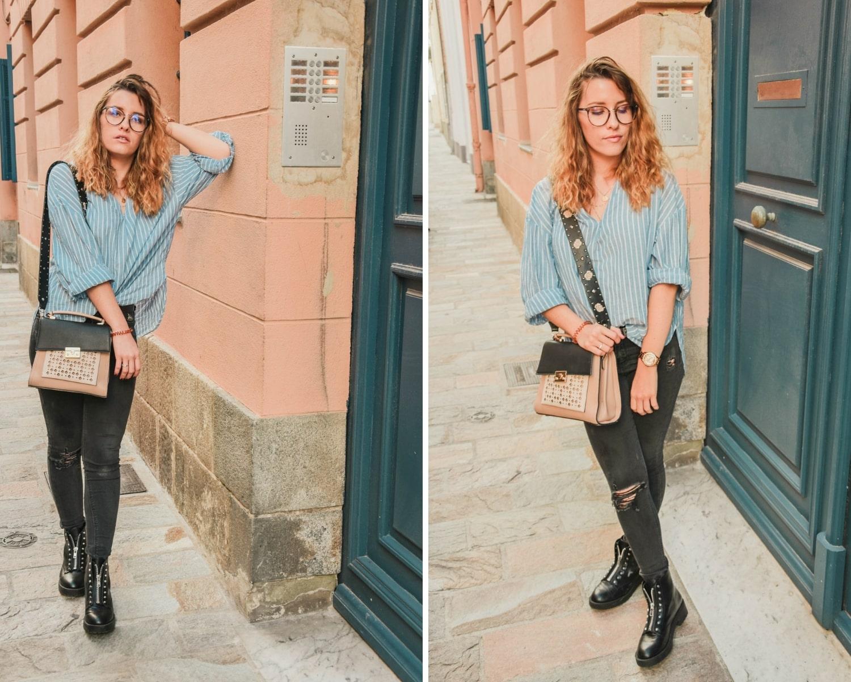 Nouvelle tenue avec ma chemise oversize à rayures et mes bottes motard - happinesscoco.com