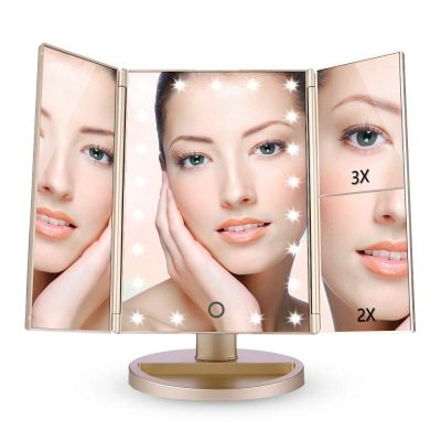 Amazon EASEHOLD Miroir Maquillage Lumineux LED Tri-Pli Grossissement 2x3x