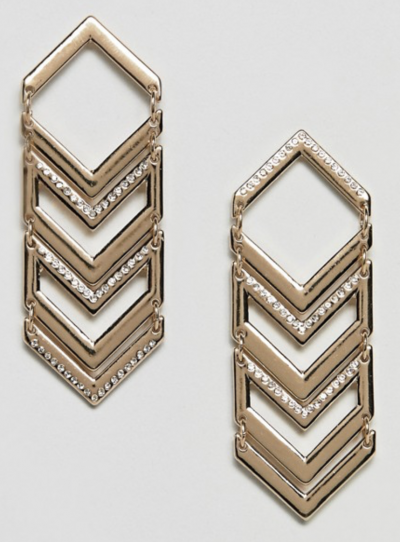 Asos River Island – Boucles d'oreilles pendantes motif chevron – Doré
