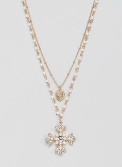 ASOS DESIGN – Collier multirangs avec perles et pendentif croix vintage à pierreries – Doré