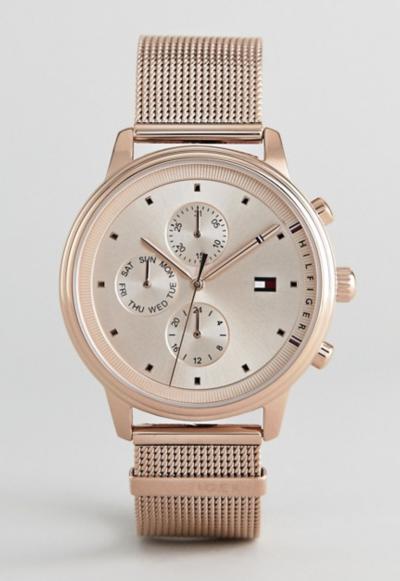 Asos Tommy Hilfiger – 1781907 – Montre chronographe avec bracelet en maille 38 mm – Or rose