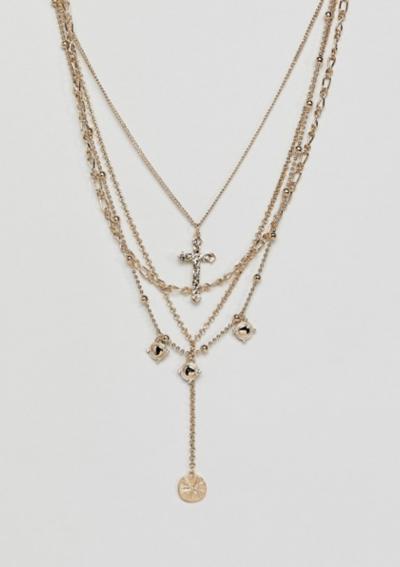 ASOS DESIGN – Collier multi-rangs avec croix style vintage et pendentifs disques – Or
