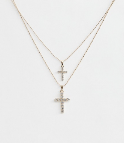 Asos ALDO – Gradonia – Collier multirangs avec croix – Or