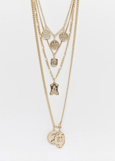 Asos Reclaimed Vintage – inspired – Collier multi-ranges à pendentifs pièce et croix