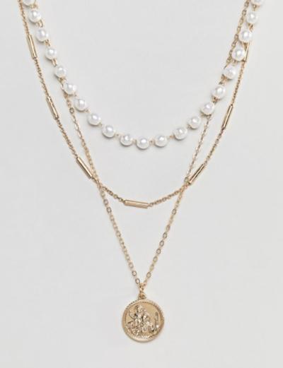 ASOS DESIGN – Collier multi-rangs avec perles et pendentif St Christophe style vintage – Doré