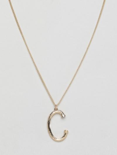 Asos DesignB London – Collier avec pendentif initiale C texturé – Doré