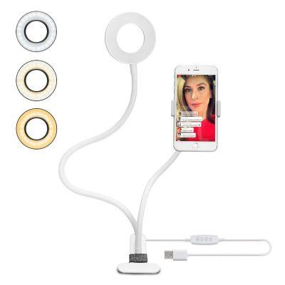 Amazon Support Téléphone avec Selfie Ring Light,le Flux en Direct et le Maquillage [10-Niveau Luminosité] [3-Mode d'Éclairage] Réglable Lampes Phone Accessoires (Blanc)Support Paresseux pour Mobile [Classe énergétique A+]