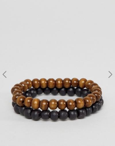 ASOS DESIGN – Lot de bracelets à perles – Noir et marron