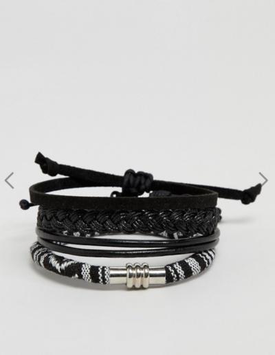 ASOS DESIGN – Lot de bracelets – Modèles en cuir et tissés – Monochrome