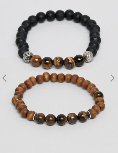 ASOS DESIGN – Lot de 2 bracelets en perles avec pierres semi-précieuses – Noir et marron