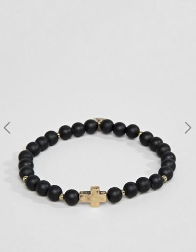 Asos Icon Brand – Bracelet de perles avec breloque croix dorée – Noir