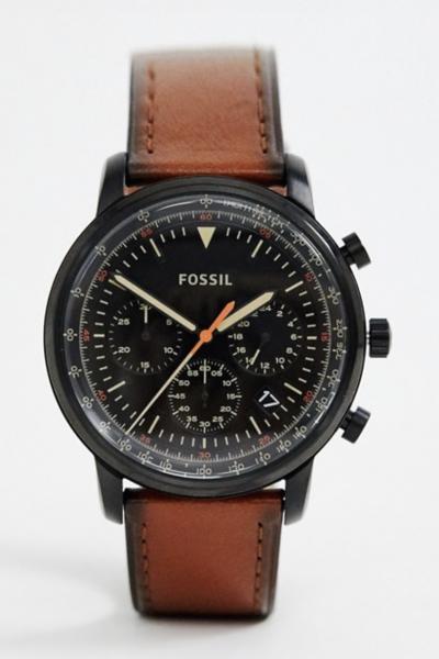 Asos Fossil FS5501 Goodwin – Montre 44 mm avec bracelet en cuir – Fauve