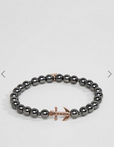 Asos Icon Brand – Bracelet en perles avec breloque ancre – Bronze