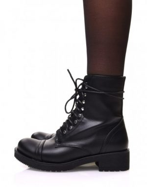 Modress BOTTINES NOIRES À LACETS rangers noir