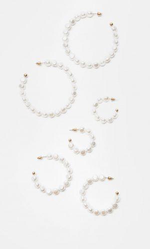 Lot de 3 paires d'anneaux perles