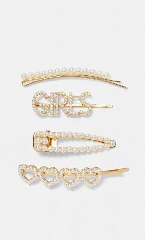 Stradivarius Lot de 4 barrettes avec perles et cœurs