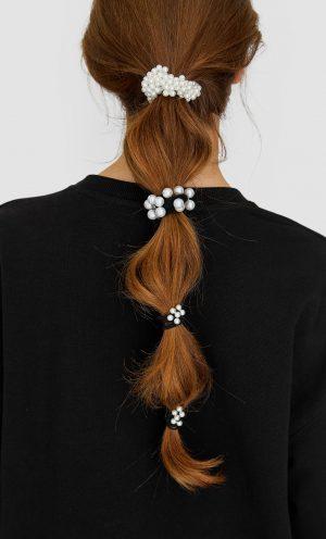 Stradivarius Lot de 3 élastiques à cheveux avec perles