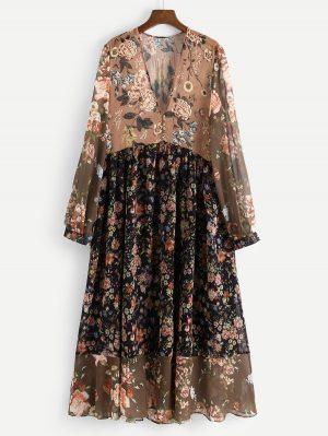 Shein Robe Florale Avec Col V