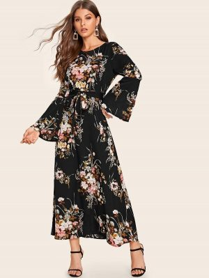 Shein Robe Longue Avec Imprimé Floral Et Ceinture