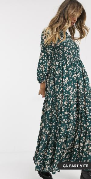 Asos Pull&Bear – Robe mi-longue babydoll à fleurs froncée – Vert