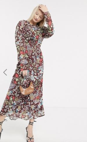 ASOS DESIGN – Robe longue fluide à manches bouffantes imprimé floral vintage