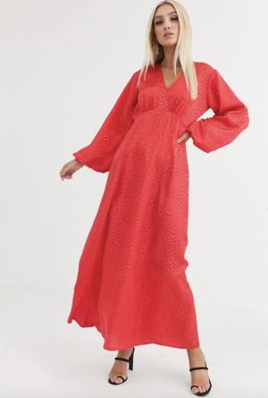 ASOS DESIGN – Robe longue manches bouffantes en jacquard