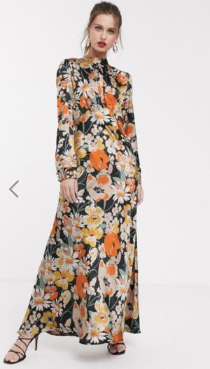 ASOS DESIGN – Robe longue col montant en satin à fleurs