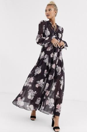 Asos Forever New – Robe longue à fleurs – Violet