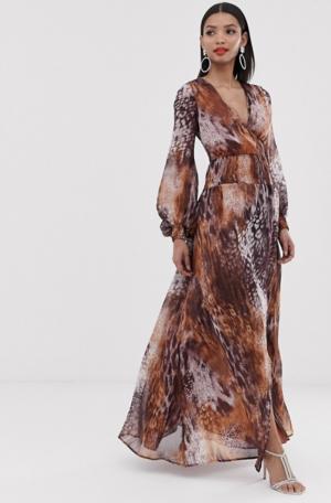 ASOS DESIGN – Robe longue à détail smocké et imprimés animaux mélangés