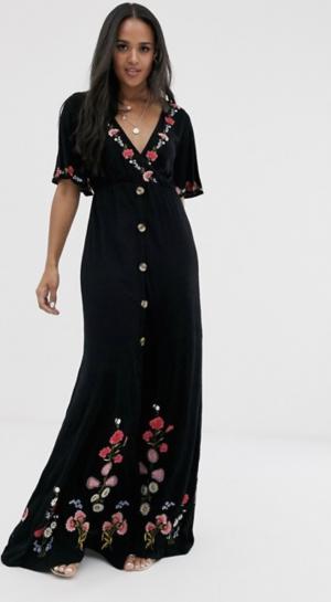 ASOS DESIGN – Robe longue boutonnée en tissu texturé avec broderie