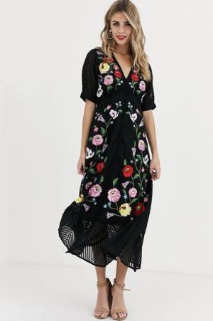 ASOS DESIGN – Robe longue boutonnée brodée en tulle plumetis