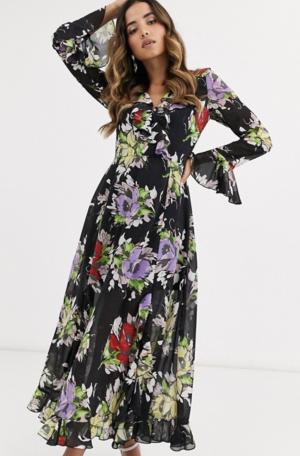 ASOS DESIGN – Robe longue cache-cœur à volants avec imprimé à fleurs foncé