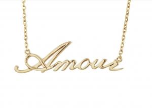 Histoire d'Or Collier Plaqué Or Inscription Amour
