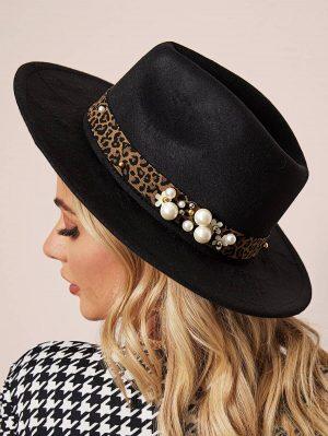 SHEIN Chapeau à bord large avec motif léopard et fausse perle