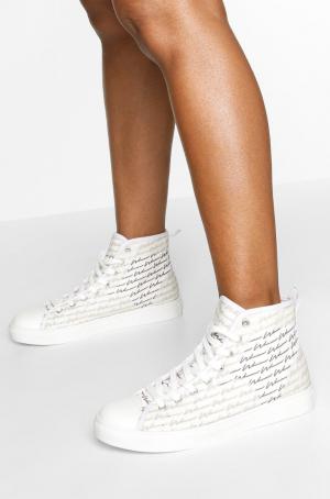 Boohoo Woman Script High Top Sneakers