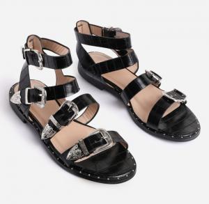 Ego Oscar Buckle Detail Flat Gladiator Sandal In Black Croc Print Faux Leather