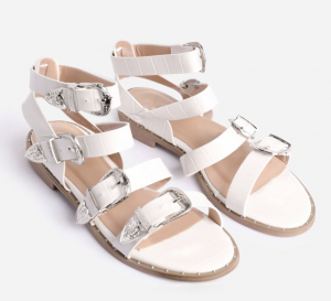 Ego Oscar Buckle Detail Flat Gladiator Sandal In White Croc Print Faux Leather