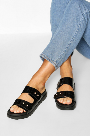 Boohoo Croc Foot Bed Sliders