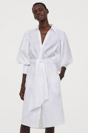 H&M Robe chemise en lin
