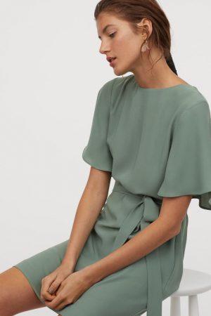 H&M Robe avec ceinture à nouer