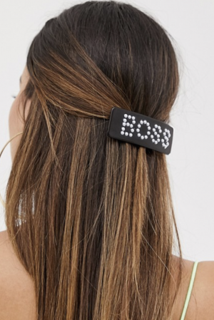 ASOS Design – Barrette à cheveux avec inscription Boss en perles – Écaille de tortue