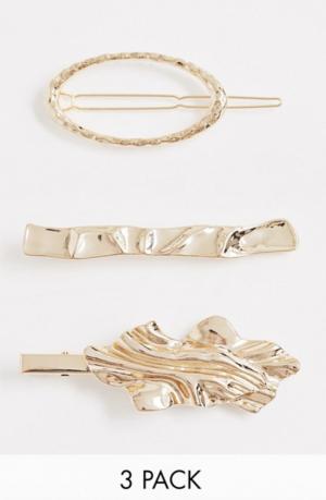 ASOS DESIGN – Lot de 3 barrettes à cheveux avec modèles variés – Doré