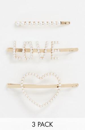 ALDO – Keilan – Lot de barrettes à cheveux ornées de perles